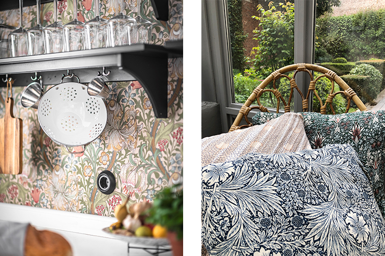 coussins tapisserie William Morris